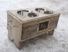 Personalized Bowl Holder Elevated Dog Feeding Bowl Personalized Pet Bowl Holder Raised Dog Feeder Shabby Cottage Antique White Pet Furniture...