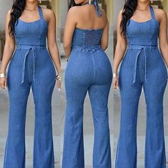 Cheap jumpsuits rompers women, Buy Quality romper women directly from China jumpsuit romper Suppliers: Romper Women Denim Jumpsuit 2017 Elegant Sexy Denim Wide Leg Backless Bodycon Playsuit Long Pant Women Jumpsuit Blue Jean Jumpsuit, Casual Jumpsuit, Denim Jumpsuit, Backless Jumpsuit, Denim Pullover, Denim Jumper, Jean Jumper, Denim Fashion, Look Fashion