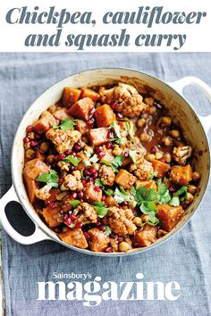 For a healthier curry packed with Indian spices, try our chickpea, cauliflower and squash curry recipe. This warming one-pot is vegan, gluten-free and perfect for lunch leftovers the next day. Curry Recipes, Vegetable Recipes, Vegetarian Recipes, Healthy Recipes, Savoury Recipes, Veggie Food, Food Food, Healthy Foods, Tomato Curry