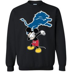 70265a950 Dabbing Mickey Funny Love Detroit Lions America Football Printed Crewneck  Pullover Sweatshirt 8 oz - https