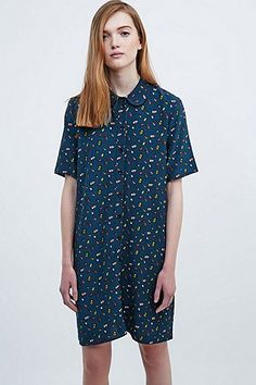 Cooperative Bug Print Shirt Dress in Navy