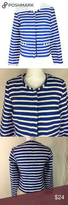 NWT Gap blue white strip lightweight coat jacket 8 NWT Gap jacket. Full zip front. Nice fabric very soft. Please see pics for measurements. Size 8. Flawless new. Retail $65. Pictures make it appear cream but it is white strip with royal blue GAP Jackets & Coats