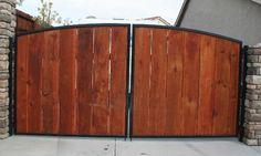 wood slats, metal frame car gate