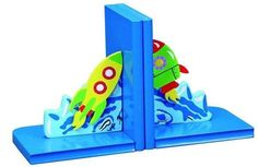 Wooden Space / Rocket Ship Bookends Great for Kids or Nursery Decor