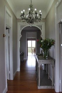 Queenslander - Entrance - traditional - brisbane - by Charcoal Interiors California Bungalow Interior, Bungalow Interiors, Arched Interior Doors, Hallway Chandelier, Queenslander House, Entry Hallway, Street House, Hallway Decorating, New Homes