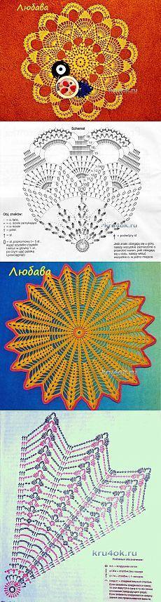 Las servilletas por el gancho con la descripción y los esquemas - la labor de punto por el gancho en kru4ok.ru