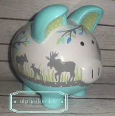"""LARGE Aqua turquoise grey and green Moose and tree forest Artisan hand painted ceramic personalized piggy bank , 9"""""""