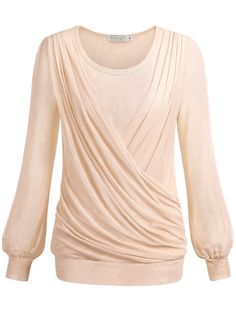 BAISHENGGT Women's Pleated Front Mesh Tunic Top Blouse #womens #womensfashion…