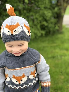 Ravelry: Fox sweater pattern by Eva Norum Olsen Baby Boy Knitting Patterns, Baby Sweater Patterns, Baby Cardigan Knitting Pattern, Knitting For Kids, Knitting Projects, Fox Sweater, Knit Baby Sweaters, Baby Boy Sweater, Baby Knits