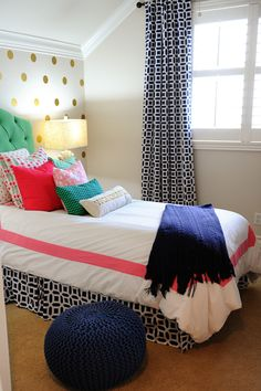 Adding accessories like soft throws, needlepoint pillows and knotty poufs to a room is a great way to bring in a variety of color and texture. The pouf doubles as seating in this tween room too, creating extra space for friends to hang out. Post Sponsored by HomeGoods.