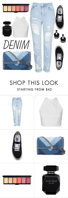 """distressed denim #2 : daily outfit edition"" by grnrifda ❤ liked on Polyvore featuring Topshop, Vans, STELLA McCARTNEY, Elie Saab, Kenneth Jay Lane and distresseddenim"