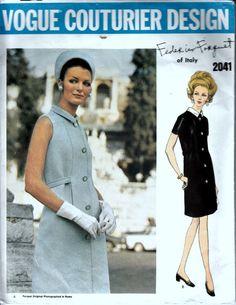 1960s Vogue Couturier Pattern - VOGUE 2041 - Federico Forquet - Designer Dress Pattern - Bust 31-1/2 on Etsy, $70.33 AUD