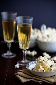 Truffle Butter, Parmesan and Thyme Popcorn (suggested pairing: champagne) Popcorn Snacks, Popcorn Recipes, Wine Recipes, Snack Recipes, Truffle Butter, Truffle Oil, Champagne Truffles, Champagne Recipe, Yummy Snacks