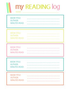 Printable Reading Log for Elementary Kids