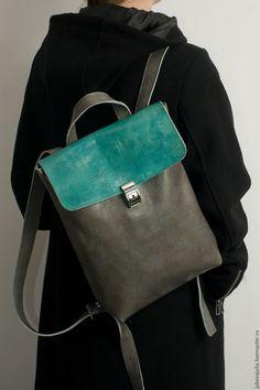 backpack international shipping Купить Рюкзак серый коричневый Бирюзовый из натуральной кожи под А4 - бирюза, коричневый рюкзак