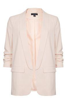 Primark - Blazer com pregas nas mangas rosa pálido