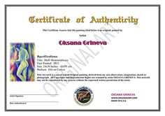 Free certificate authenticity template art business for Artist certificate of authenticity template