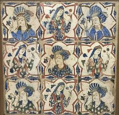 Tile Panel | The Met  17th century  Attributed to Caucasus or Iran  Dimensions:Overall Frame: H. 23 1/8 in. (58.7 cm) W. 23 1/8 in. (58.7 cm)