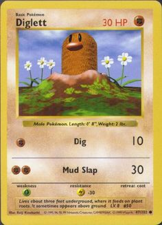 Diglett was my first Pokemon card, given to me by a boy in 4th grade who had a crush on me. (Diglett also happens to be the best Pokemon ever, followed by Onix.)