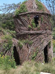 Woven willow structures. The magical example above is from the Santa Barbara Arboretum.