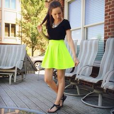 Add a pop of neon to your summer wardrobe w/ this Charlotte Russe neon yellow skater skirt (as worn by #CRfashionista @kylieeesouder via Instagram)! http://www.charlotterusse.com/product/Bottoms/Skirts/Skater/entity/pc/3390/c/2633/sc/2705/267746.uts?colorCode=301667721_704