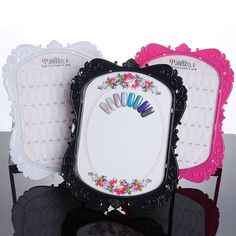 Double-Sided Nail Art Display Stand Gel Polish Color Card Flower Design