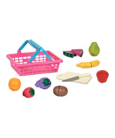 Budding grocers and chefs will love choosing just the right ingredients from this basket. Filled with bright fruits and veggies, it's a great introduction to chopping and slicing.Includes eight Velcro food items, cutting board, toy knife and basket8.5'' W x 10.25'' H x 3.5'' DPlasticR...