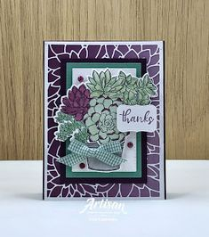 Succulent Pots, Potted Succulents, Card Tutorials, Sympathy Cards, Stamping Up, Flower Cards, Greeting Cards Handmade, Homemade Cards, Stampin Up Cards
