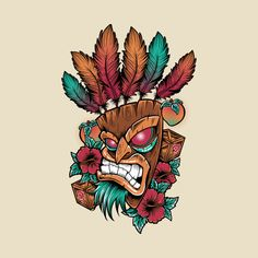 A Crash Bandicoot t-shirt by RedBug. Show everyone that you are a fan of the Crash Bandicoot video game with this Aku Aku t-shirt. Voodoo Tattoo, Tiki Tattoo, Aku Aku Tattoo, Crash Bandicoot Tattoo, Crash Bandicoot Characters, Hd Tattoos, Pin Up Girl Tattoo, Pokemon Tattoo, Tiki Art