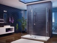 Beautiful modern bathroom with Fleurco's walk-in shower system (no shield, three-sided panel) / Evolution Collection