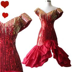 Vintage 80s Red Gold Sequin Prom Dress S, $140.00