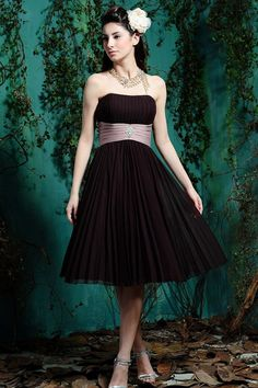 A-line Strapless Pleated Bodice Wide Satin Waistband Chiffon Bridesmaid Dress-wbm0151, $176.95