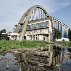 """b-a-c-u: """" Sports Hall, Bacau, Romania, built between Architect Gheorghe Chira © BACU """" Landscape Architecture, Architecture Design, Sport Hall, Photography Series, Googie, Brutalist, Places Around The World, Abandoned Places, Romania"""