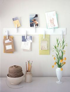 D.I.Y. Clothespin Organizer – just attach pins to a piece of wood and mount to the wall. Inspiration wall?!