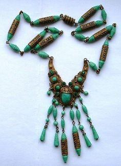 ART DECO CZECH PEKING GLASS EGYPTIAN REVIVAL NECKLACE | eBay