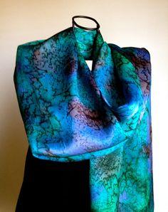 Scarf Silk Hand Painted Turquoise Silk Scarf by PKFairadaySilks, $45.00
