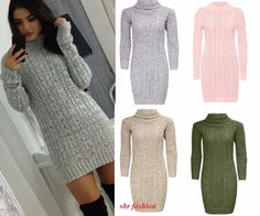 #Womens long #sleeve cowl polo neck cable knitted #jumper mini dress top 8-22,  View more on the LINK: http://www.zeppy.io/product/gb/2/162197046356/