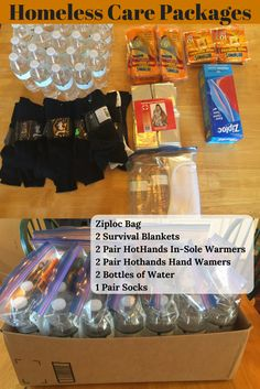 Ideas for winter care packages for the homeless. Less than $10 per package
