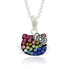 Hello Kitty Sterling Silver Rainbow Crystal Pendant Necklace //Price: $ & FREE Shipping //     #fan World of Hello Kitty https://worldofhellokitty.com/product/hello-kitty-sterling-silver-rainbow-crystal-pendant-necklace/