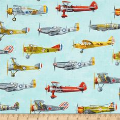 Transportation Vintage Planes Blue from @fabricdotcom  Designed by Phoenix Creative Co. for Robert Kaufman, this cotton print is perfect for quilting, apparel and home décor accents. Colors include blue, green, orange, red, yellow and grey.