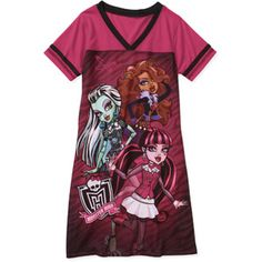 Monster High Girls' Nightgown Monster High Party Supplies, School Outfits, Graphic Prints, Night Gown, Gowns, How To Make, Mens Tops, Stuff To Buy, Clothes
