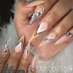 Nail Art Designs With Rose Gold Color 2019 – Sexy Nails, Glam Nails, Bling Nails, Stiletto Nails, Cute Nail Art, Cute Nails, Pretty Nails, Nail Swag, Fabulous Nails