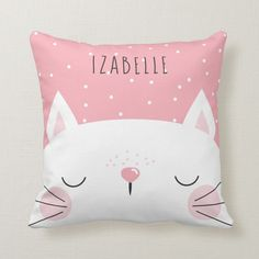 White Kitten - Nursery Decor - Name Throw Pillow Pink and white throw pillow for the nursery with a white cat with a pink nose and cute pink freckles against a pink background with white dots. Add your child's name! White Throw Pillows, Baby Pillows, Kids Pillows, Accent Pillows, Bedroom Themes, Nursery Themes, Nursery Decor, Nursery Ideas, Nursery Inspiration