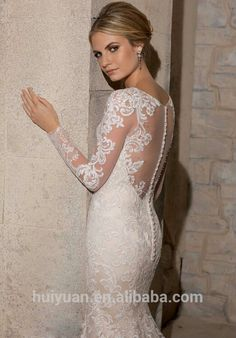elegant scoop neck long sleeve lace A-line turkish wedding dresses