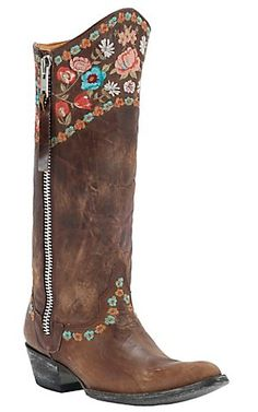 Old Gringo® Ladies Gayla Razz Brown w/ Floral Embroidery Pointed Toe Western Boots | Cavender's Boot City