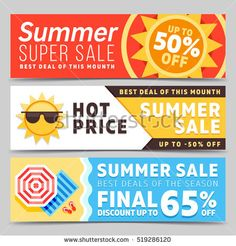 Super sale summer banners set with beach background umbrella, waves and sun