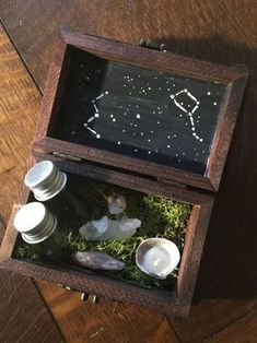 """DIY Green Witch Portable Altar alittleforestwitch: """" donnaoria: """" If you're like me, and like to bring your earthy witchcraft with you this is the DIY for you. cost breakdown and materials: ✨ Wood box. Witch Alter, Wiccan Crafts, Baby Witch, Witch Decor, Modern Witch, Witch Aesthetic, Wood Boxes, Painted Wooden Boxes, Book Of Shadows"""