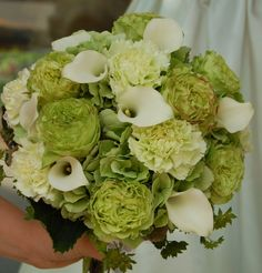 Bouquet of Hyrangea, Carnations, Garden Roses and mini Arum Lillies - I usually don't like carnations but here they work.