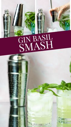 This Gin Basil Smash is the perfect summer cocktail (or year round if you get some basil from the grocery store!). You simply muddle some basil with some simple syrup and lemon juice, add your gin, shake and serve!  So easy and so refreshing!  A soft herbal flavor and a pretty pale green cocktail - looks perfect for a garden party, doesn't it? Easy Gin Cocktails, Classic Gin Cocktails, Gin Cocktail Recipes, Summer Cocktails, Cocktail Drinks, Drink Recipes, Gin Lemon, Party Food And Drinks, Simple Syrup
