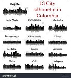 Set of 13 City silhouette in Colombia ( Bogota, Santa Marta, Manizales, Barranquilla, Bucaramanga, Villavicencio, Cucuta, Medellin, Pereira, Armenia, Neiva, Cali, Cartagena )